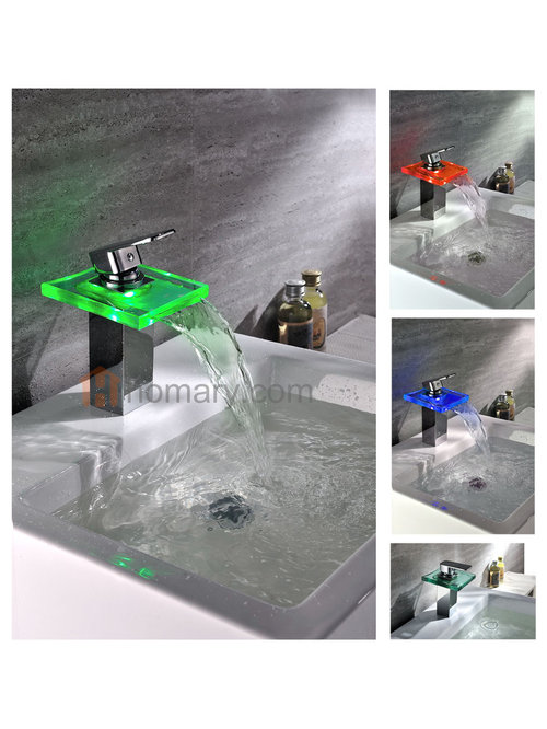 Bling Hydroelectric LED Lighted Water Fall Sink Faucet   Bathroom Faucets  And Showerheads