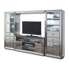 Furniture Import & Export Inc. - Jameson 4-Piece Entertainment Center, Silver Antique Mirrored Finish - Entertainment Centers and Tv Stands