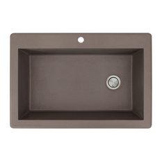 "Radius 22""x33"" Granite Single Drop Kitchen Sink, 1 Faucet Hole, Espresso"