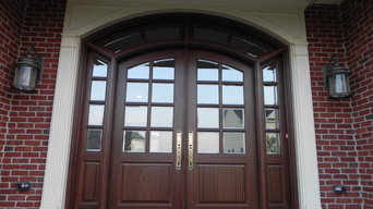 Arched Double door with sidelights and transom.