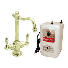 """Victorian 9"""" Hot And Cold Water Dispenser And Tank In Polished Brass"""