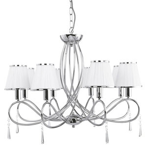 Simplicity 8-Light Chrome Pendant With White Fabric Shade