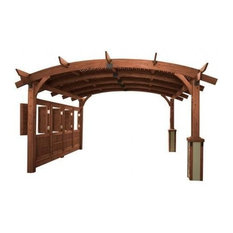 16'x16' Sonoma Arched Wood Pergola With Lattice Roof and Privacy Wall, Mocha