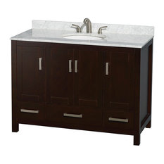 "Sheffield 48"" Espresso Single Vanity, Carrera Marble Top, Undermount Oval Sink"