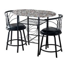 Spiky 3 Piece Black Metal With Cobblestone Wood Top Dinette Pub Set, Black