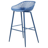 Piazza Outdoor Barstool, Blue, Set of 2