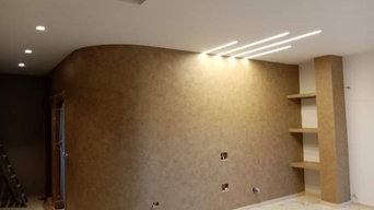 Controsoffitto con strisce led a incastro... Finitura Klondike light