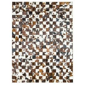 Patchwork Leather 10x10 cm Cubed Cowhide Rug, 140x200 cm