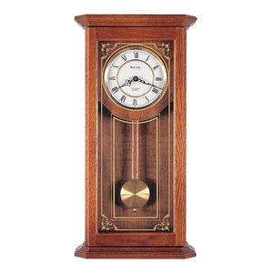Bulova Cirrus, Chiming Pendulum Wall Clock, Solid Oak Case