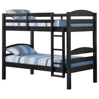 Solid Twin Over Twin Bunk Bed, Black