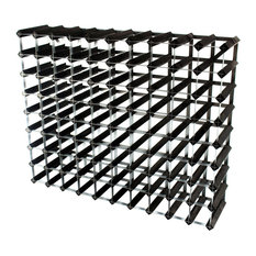 Classic 90-Bottle Wine Rack, Galvanised Steel and Black Stained Wood