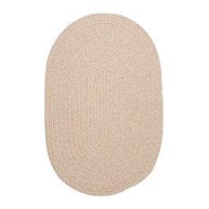 Braided Natural Solid Wool Rug, 7'x9' Oval, Bristol WL00