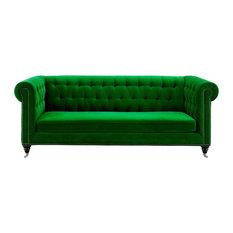 1st Avenue - Powell Velvet Sofa, Green - Sofas