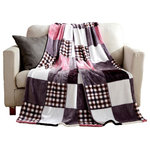 Tache Home Fashion - Tache White Pink and Purple Plaid Super Soft Fleece Throw Blanket, Full/Queen - Super soft, warm, fleece blanket it'll become a household favorite. Tache Farmhouse Super Soft, Plaid, Throw Blanket allows you to luxuriously snuggle and keeps you cozy on the coldest of days. Being highly durable, lightweight and easy to care fabric, it is a perfect choice for snuggling and cuddling on a cold night. This blanket is perfect for snuggling, to throw over bed, on the couch in the living room for your movie time, handy and lightweight to be used in car or for picnic, camping, and travel.