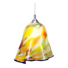 Handblown glass pendant lighting houzz elys class art handblown glass pendant light green and orange pendant lighting mozeypictures Gallery