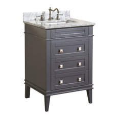 Kitchen Bath Collection - Eleanor Bathroom Vanity With Carrara Top,  Charcoal Gray, 24