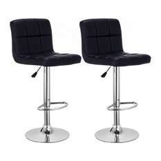 Costway Set Of 2 Bar Stools PU Leather Adjustable Barstool Swivel Black
