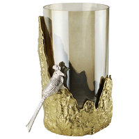 Candle Holder With Glass Hurricane and Vase