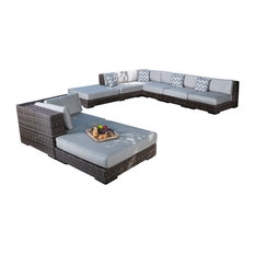 8-Piece Bowen Outdoor Light Brown Wicker Sunbrella Sofa Sectional
