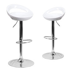 Set Of 2 Bar Stool Chrome Base And Swivel Seat With Low Open Back White