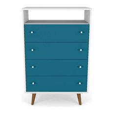 Liberty 4-Drawer Dresser Chest, White and Aqua Blue
