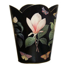 Black Floral Wastepaper Basket, With Tissue Box Cover