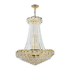 Empire 18 Bulbs 1 Tier Chandelier With Clear Crystal In Polished Gold