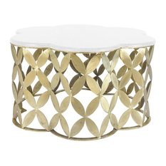 Sagebrook Home Metal & Marble Flower Shaped Cocktail Table, Gold Accent