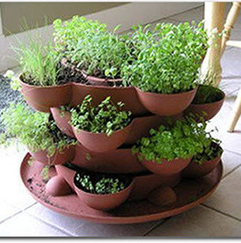 Indoor Herb Garden Stackable Planter - Terracotta - Indoor Pots And Planters