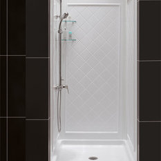 """32"""" Dx32"""" Wx76 3/4""""H Center Drain Shower Base and QWALL-5 Backwall, White"""