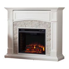 Witrock Electric Media Fireplace, White With White Faux Stone