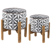 Geometric Gray and White Metal Plant Stand With Wood Stand Set of 2