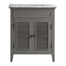 "Piedmont 30"" Single Vanity With White Marble Top, Gray, Without Mirror"