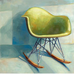 "Laura Browning Art - ""Eames Rocker"" Original Painting, 16""x16"", Canvas, Unframed - Unframed canvas prints are stretched on heavy duty 1.5"" bars (unless otherwise requested), and the image is mirrored and wrapped on each side to finish off the piece nicely. Canvas prints come ready to hang with wire hanger and a white backing. These finished pieces look and feel as close to the original painting as you can get."