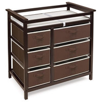 Modern Baby Changing Table with Six Baskets - Espresso