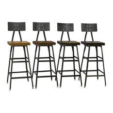 barnxo set of 4 reclaimed industrial modern salvaged barn wood 25x16x16 dark - Modern Counter Stools