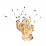 Wooden Cactus Hors doeuvre Holder