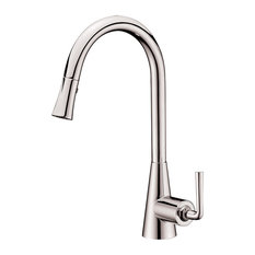 DAWN - Dawn Single-Lever Pull-Down Spray Sink Mixer, Brushed Nickel - Kitchen Faucets
