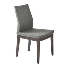 Pasha Wood High Back Chair, Solid Beech Wenge Color Base, Stone Brick Wool