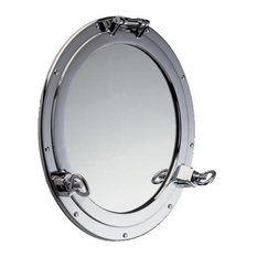 Heavy Duty Solid Brass Porthole Mirror by Shiplights for Interior/Exterior Use,
