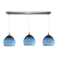 Lucent 3-Light Linear Pendant Form No. 302b, Blue Glass Shades
