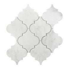Carrara Arabesque Interlocking Honed Tile, White, Sample