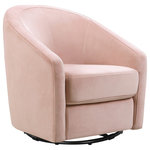 Babyletto - Madison Swivel Glider In Blush Pink Velvet - Snuggle in and rock babe to sleep with the sublime comfort of the Madison Swivel Glider in velvet. The softly rounded back and spacious seat make for heavenly cuddling while the metal swivel mechanism base allows you to turn and glide a full 360°. Upholstered by hand in luxuriously soft velvet, the classic mid-century curves of the Madison Swivel Glider will add beautiful comfort during the nursery years and beyond.