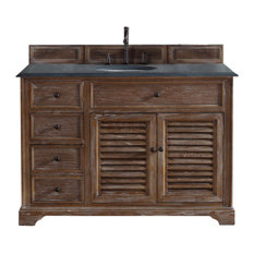 "Savannah 48"" Single Vanity Cabinet, Driftwood, 2CM Black Rustic Stone Top"