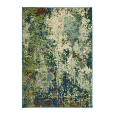"Dahlia Abstract Distressed Blue/ Green Area Rug, 6'7""x9'6"""