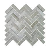 "Polished Marble Herringbone Mosaic Tile, 12""x13"", Travertine Gray, Sample"