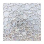 Iridescent Pebble Glass Mosaic, Clear White