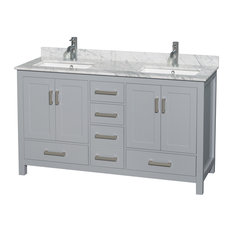 "60"" Double Bathroom Vanity Gray, White Marble Top, No Mirror"