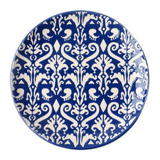Home Restaurant Creative Ceramic Round Plates, Beige And Dark Blue