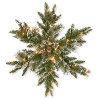 "32"" Glittery Bristle Pine Snowflake With 21 White Tipped Cones"